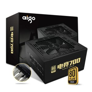 AIGO RATED 700W ESPORTS 700 FULL MODULE COMPUTER POWER SUPPLY (TRANSPARENT TIN PLATED FULL MODULE LINE / FULL VOLTAGE GOLD